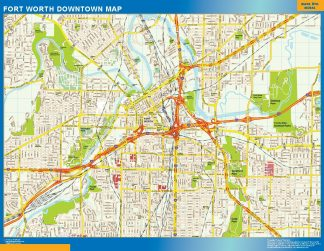 Mapa Forth Worth downtown gigante