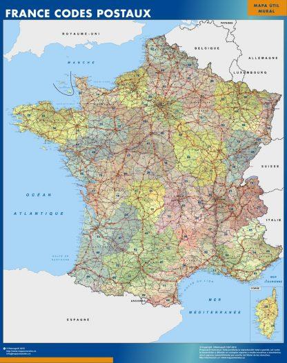 Mapa Francia Codigos Postales gigante