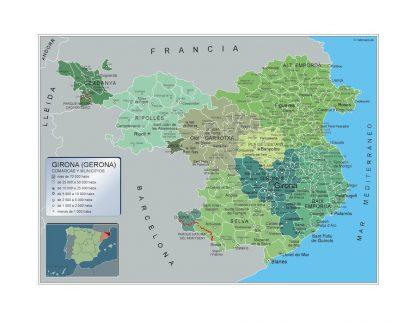 Mapa Girona por municipios gigante