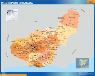 Mapa Granada por municipios gigante