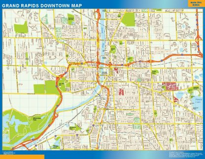 Mapa Grand Rapids downtown gigante
