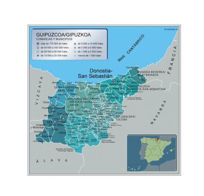 Mapa Guipuzcoa por municipios gigante
