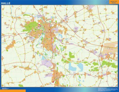 Mapa Halle en Alemania gigante