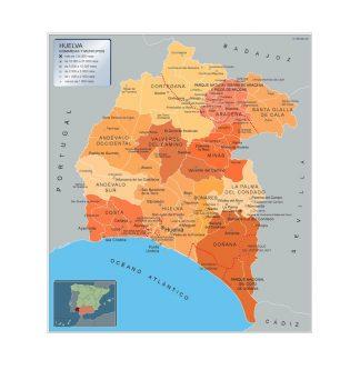 Mapa Huelva por municipios gigante