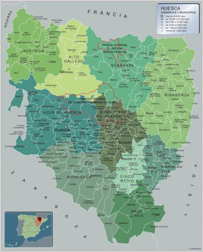 Mapa Huesca por municipios gigante