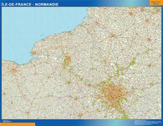 Mapa Ile De France Normandie en Francia gigante