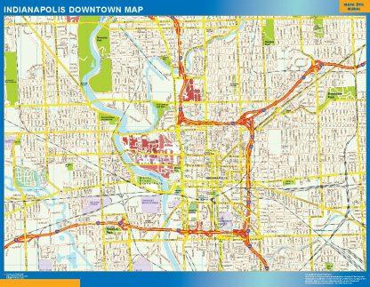 Mapa Indianapolis downtown gigante