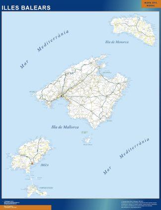 Mapa Islas Baleares carreteras gigante