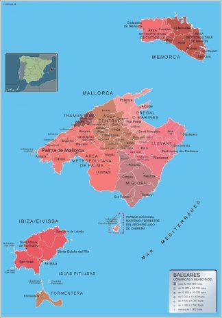 Mapa Islas Baleares por municipios gigante