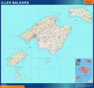Mapa Islas Baleares topográfico gigante