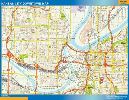 Mapa Kansas City downtown gigante