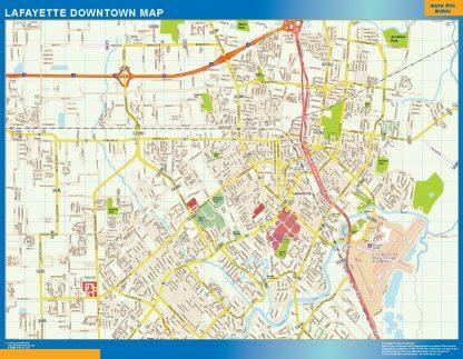 Mapa Lafayette downtown gigante