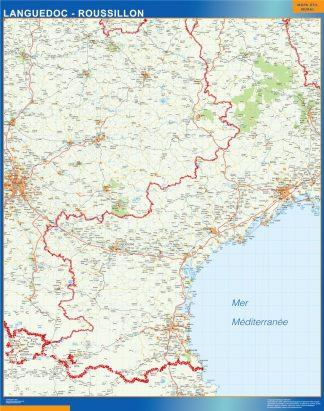 Mapa Languedoc Roussillon en Francia gigante
