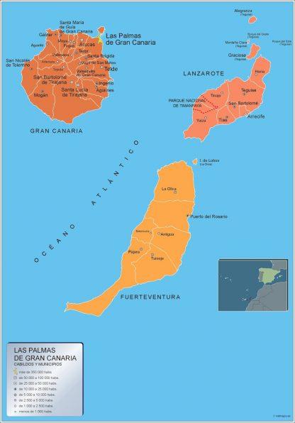 Mapa Las Palmas Gran Canaria por municipios gigante
