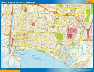 Mapa Long Beach downtown gigante