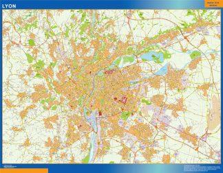 Mapa Lyon en Francia gigante