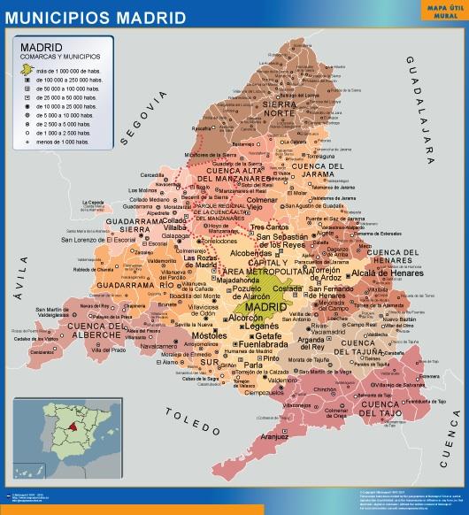Mapa De Madrid Provincia.Mapa Madrid Por Municipios Gigante