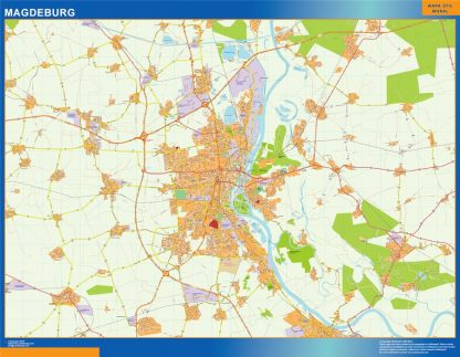 Mapa Magdeburg en Alemania gigante