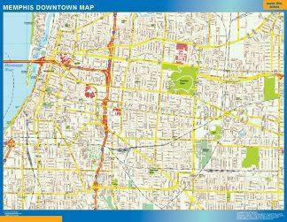 Mapa Memphis downtown gigante