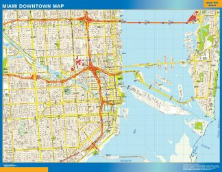 Mapa Miami downtown gigante