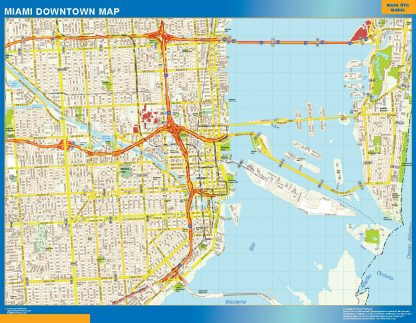 Mapa Miami downtown gigante