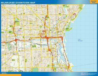 Mapa Milwaukee downtown gigante