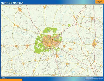 Mapa Mont De Marsan en Francia gigante