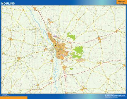 Mapa Moulins en Francia gigante