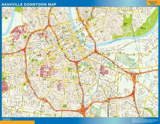 Mapa Nashville downtown gigante