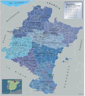 Mapa Navarra por municipios gigante