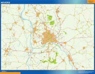 Mapa Nevers en Francia gigante