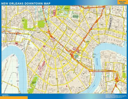 Mapa New Orleans downtown gigante
