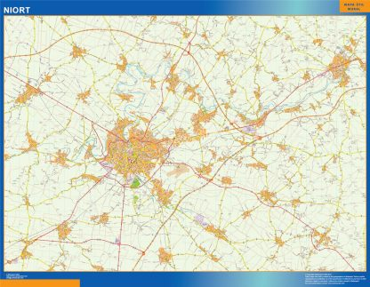 Mapa Niort en Francia gigante