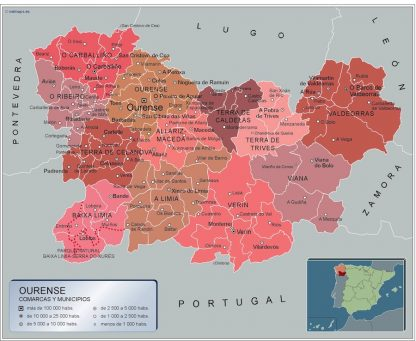 Mapa Ourense por municipios gigante