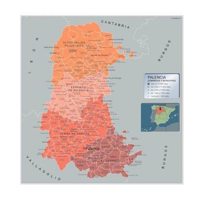 Mapa Palencia por municipios gigante