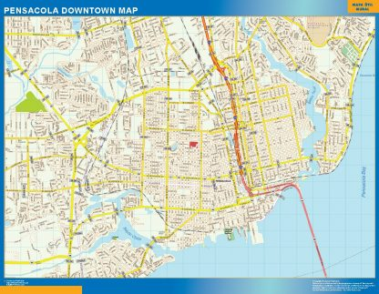 Mapa Pensacola downtown gigante