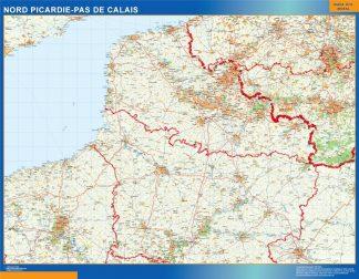 Mapa Picardie Pas Calais en Francia gigante