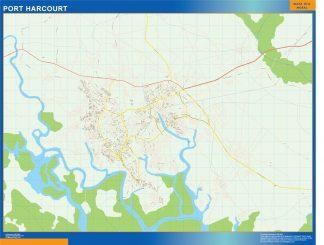 Mapa Port Harcourt en Nigeria gigante