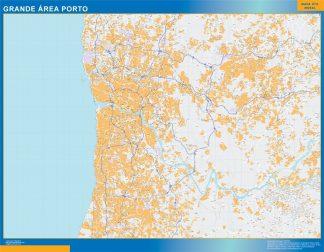 Mapa Porto Grande Area en Portugal enmarcado plastificado