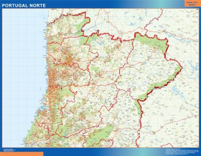 Mapa Portugal norte carreteras gigante