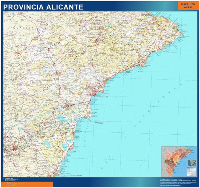 Mapa Carreteras Provincia Alicante.Mapa Provincia Alicante Gigante