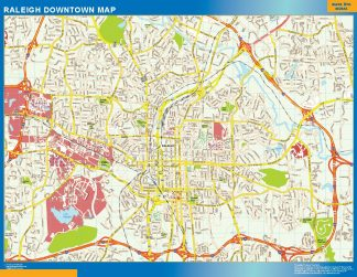 Mapa Raleigh downtown gigante