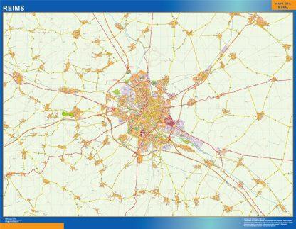 Mapa Reims en Francia gigante