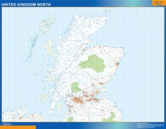 Mapa Reino Unido Norte carreteras gigante