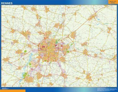 Mapa Rennes en Francia gigante