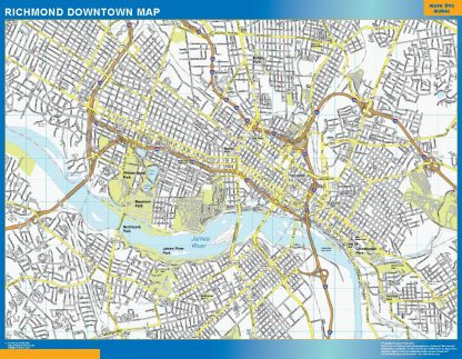 Mapa Richmond downtown gigante