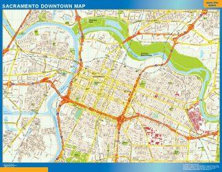 Mapa Sacramento downtown gigante