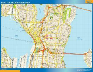 Mapa Seattle downtown gigante