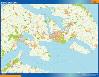 Mapa Sonderborg en Dinamarca gigante