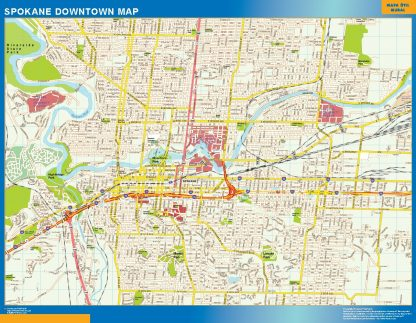 Mapa Spokane downtown gigante